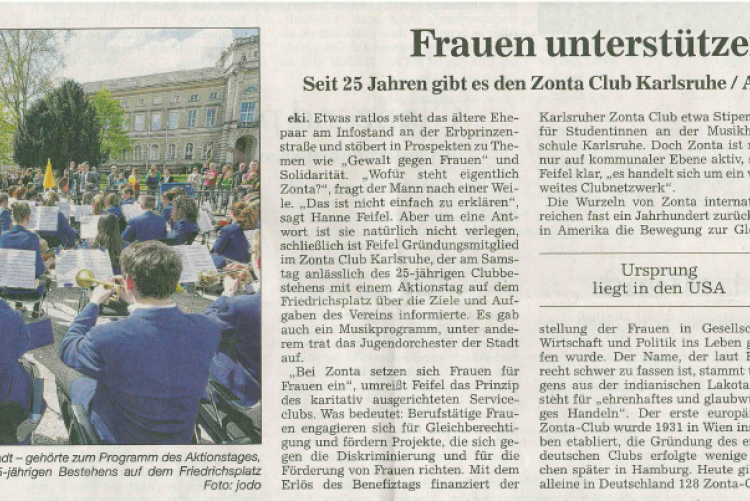 Benefiz-Aktionstag 25 Jahre Zonta - Bericht BNN 20. April 2015
