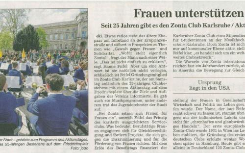 Benefiz-Aktionstag 25 Jahre Zonta - Bericht BNN 20. April 2015